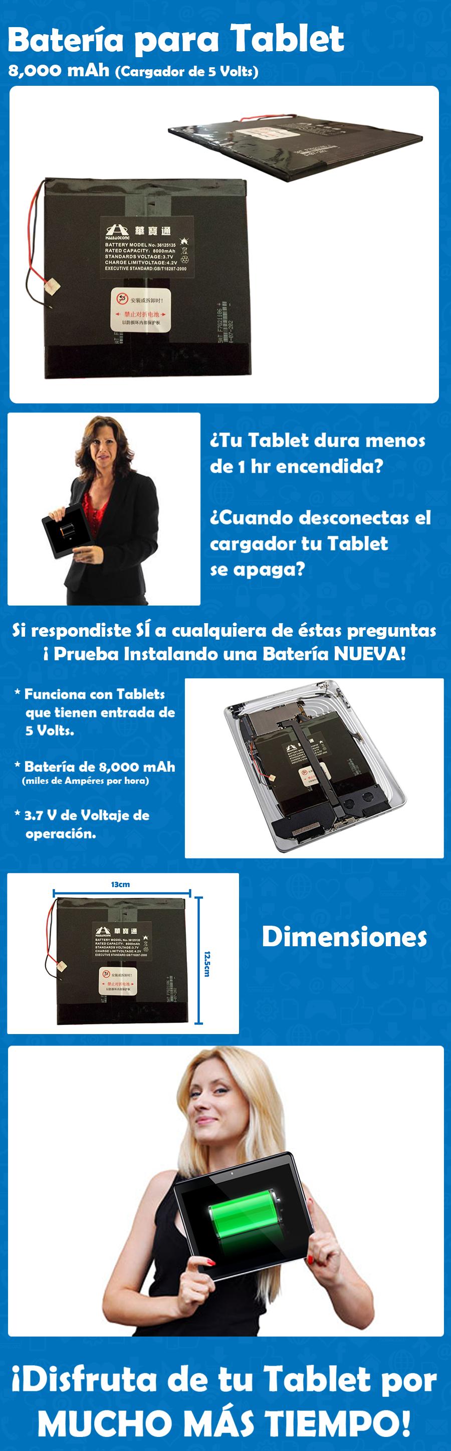 Batería para Tablet 8,000 mAh ¡Disfruta de tu Tablet por MUCHO MÁS TIEMPO!