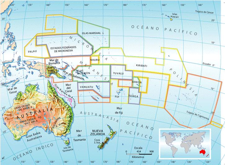 Oceanía Regiones Micronesia Melanesia Polinesia Australasia Y Países Mapa De Oceania Mapa De Australia Oceanía
