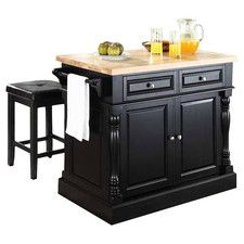 Lewistown 3 Piece Kitchen Island Set With Butcher Block Top Kitchen Island With Butcher Block Top Butcher Block Top Kitchen Island Cart