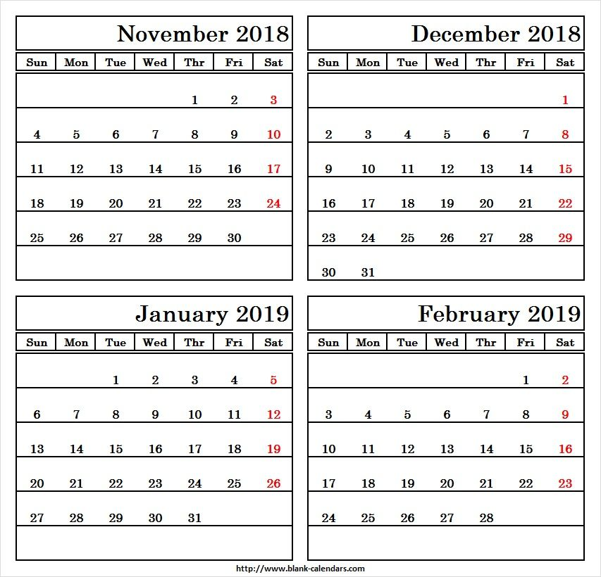 Four Month Calendar November December 2018 January February 2019