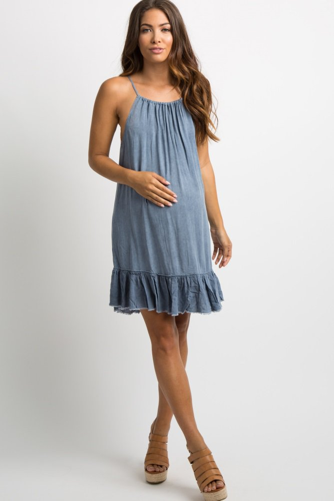 9b0e83b174a49 Blue Ruffle Fringe Trim Halter Maternity Dress, 2019 | LADIES ...