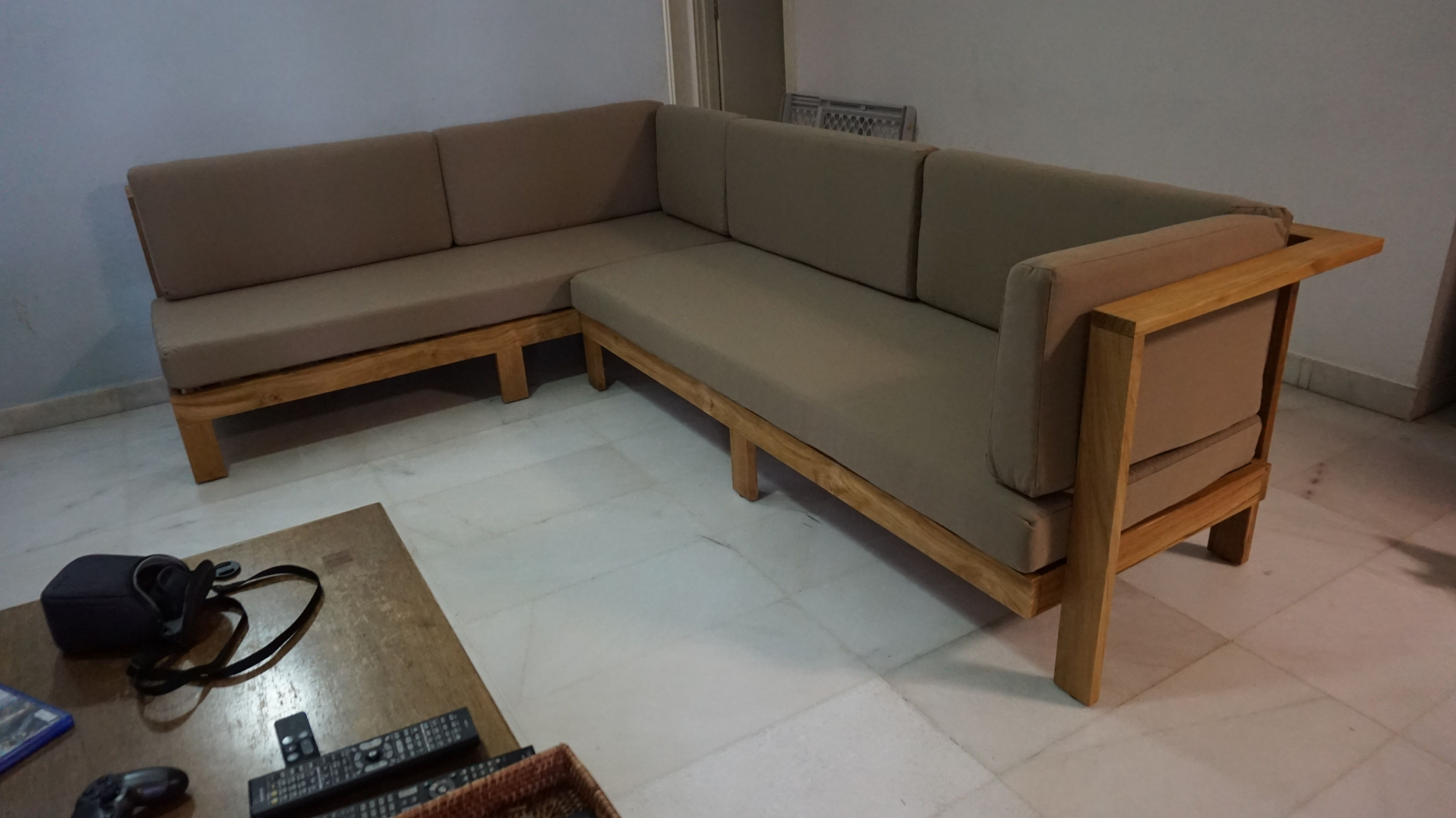 custom long L shaped wood sofa Google Search