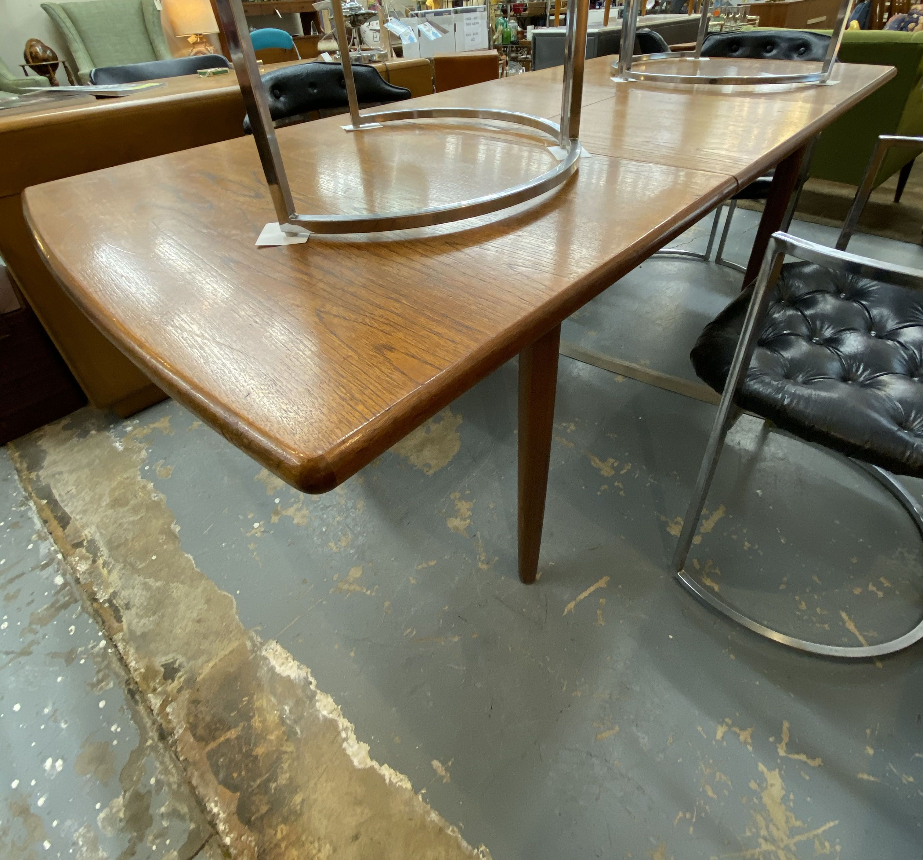 Mid Century Modern Danish Teak Dining Table With Eight Chairs On Sale Has 2 20 Extensions Was 1570 Sale Price 1100 With Images Teak Dining Table Home Decor Chair