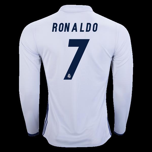2015 2016 Real Madrid Scccer Uniform Short Sleeves Jersey Away Blue 7 Ronaldo