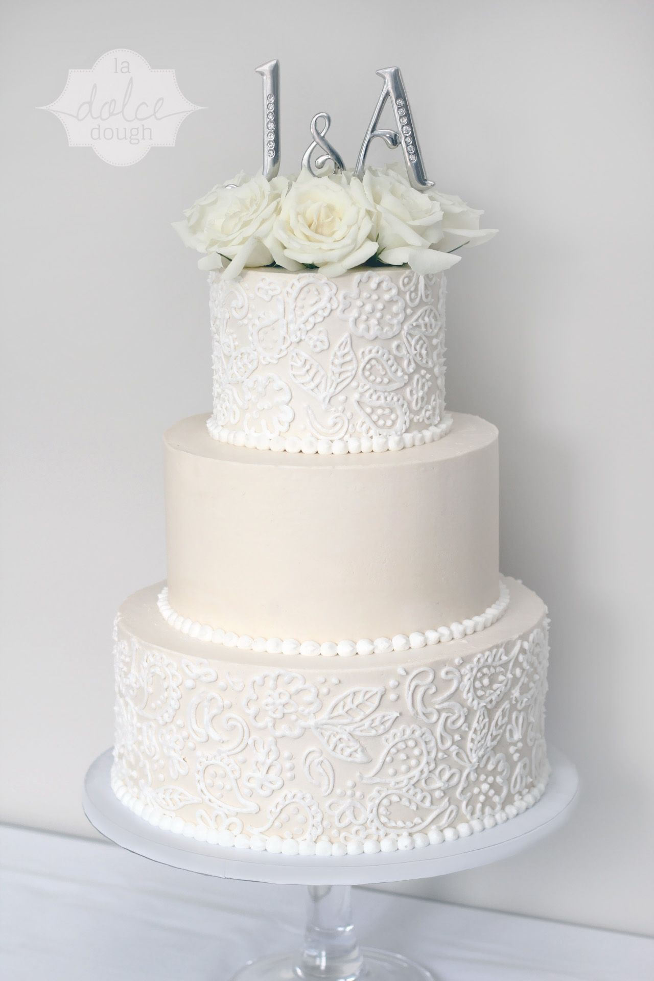 Jen And Austin S Big Day Lace Buttercream Ivory And White Cake