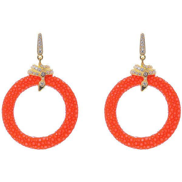 Medusa 22ct Gold Vermeil Stingray medium hoop Earring Orange ($349) ❤ liked on Polyvore featuring jewelry, earrings, gold vermeil jewelry, snake earrings, pave earrings, hoop earrings and clasp earrings
