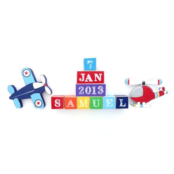 Personalised block set air transport bellas little ones buy these adorable complete wooden block sets make a wonderful unique baby shower or first birthday gift negle Gallery