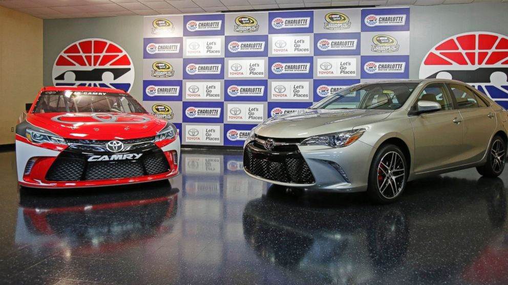 A 2015 Toyota Camry race car, left, is shown with a street version ...