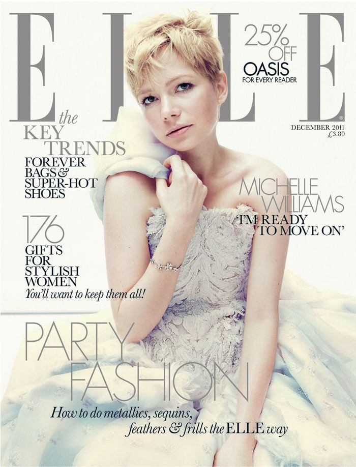 Michelle Williams… can she be any cuter? Such a beautiful cover for Elle.