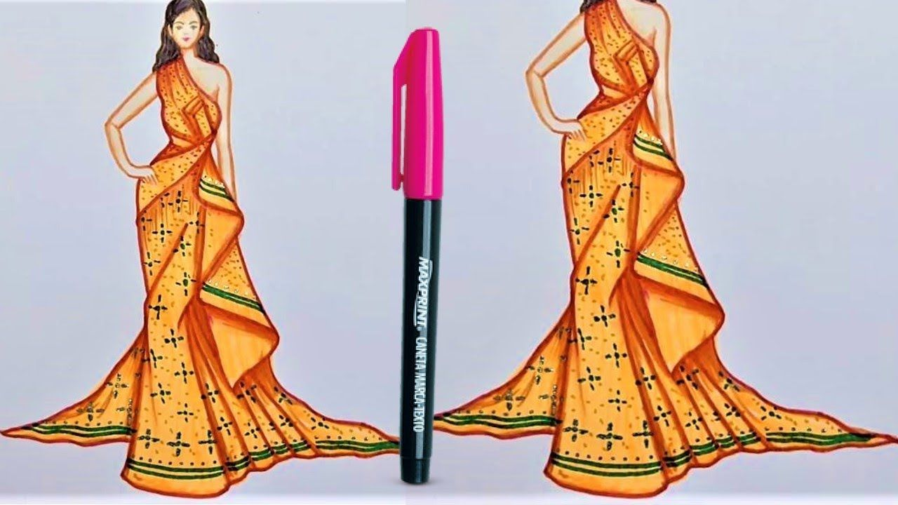 How To Draw A Wonderful Dress Fashion Design Drawings Step By Step Dress Design Sketches Fashion Design Drawing Fashion Design Dress