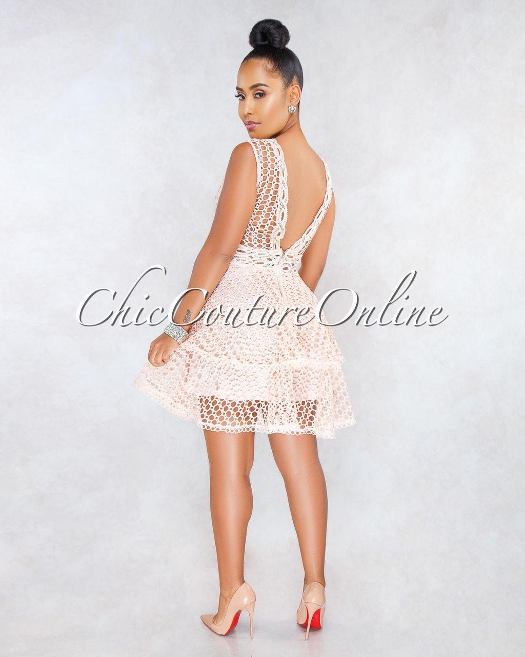 13b6394f8ed Chic Couture Online - Chaser Blush Crochet Overlay Ruffle Skater Dress