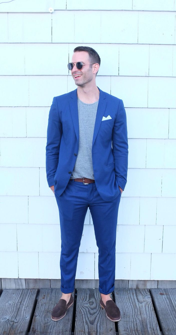 Blue suit, gray shirt, blazer t shirt