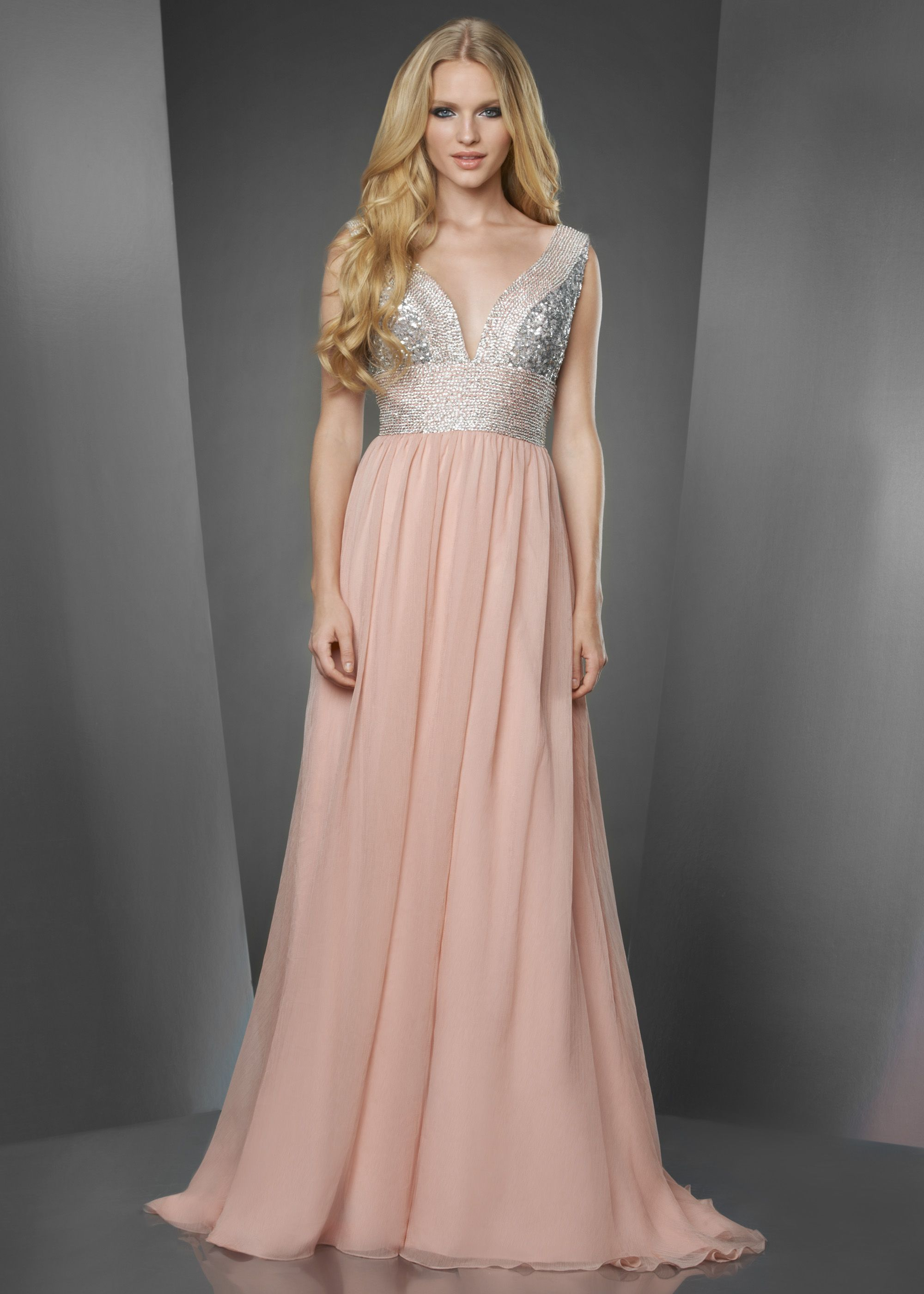 Shimmer by Bari Jay 59810 - Blush/Silver Crinkle Chiffon Prom Dress ...