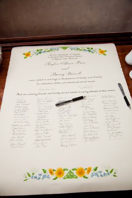 I love this idea! instead of a guest book this couple had a custom caligraphy marriage certificate made and evryone signed the bottom as witnesses.