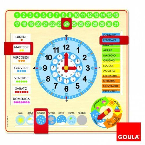 Calendario Legno Bambini.Goula 51310 Orologio Calendario Italiano Amazon It