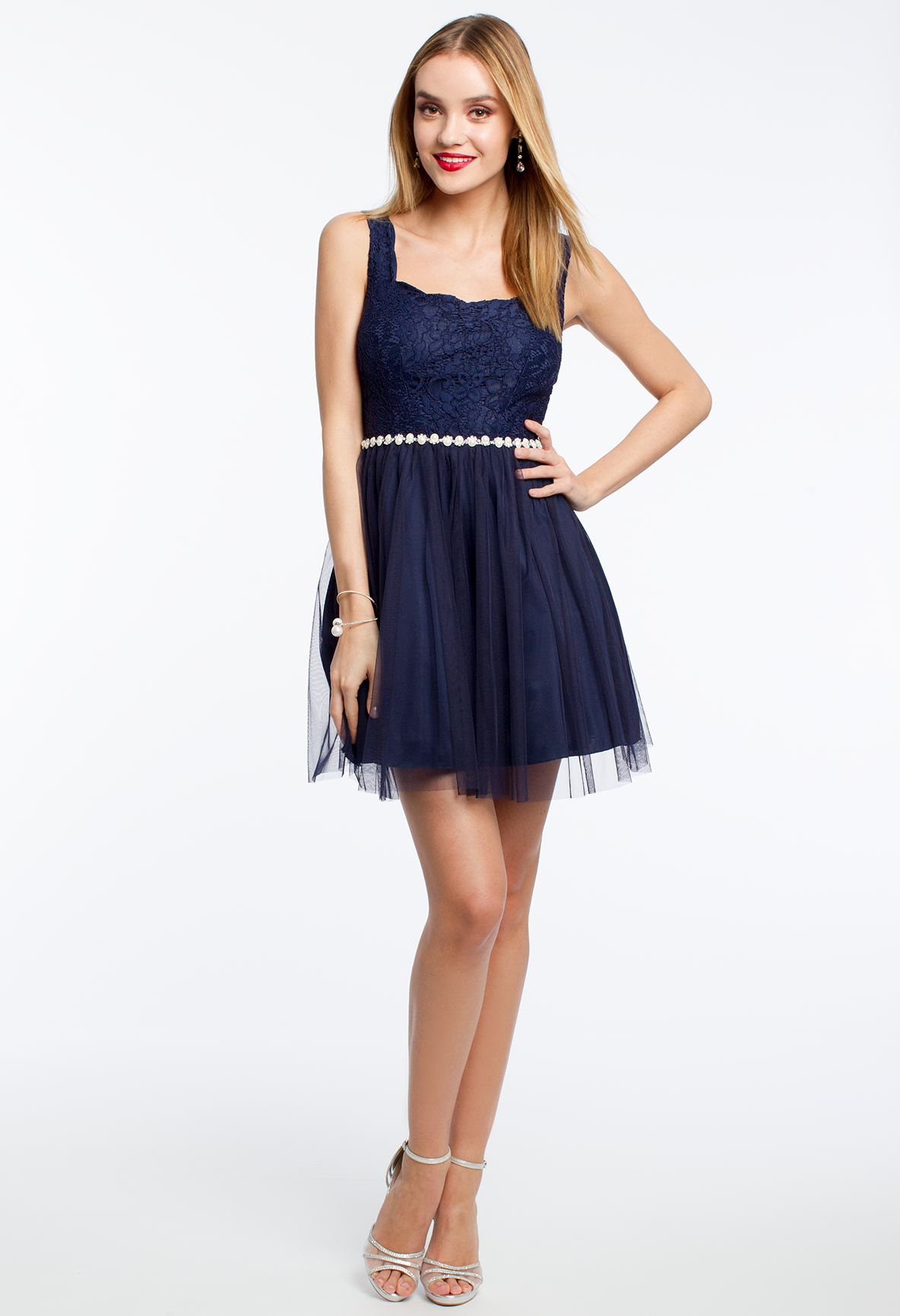 Lace with pearl trim party dress camillelavie graduate in style
