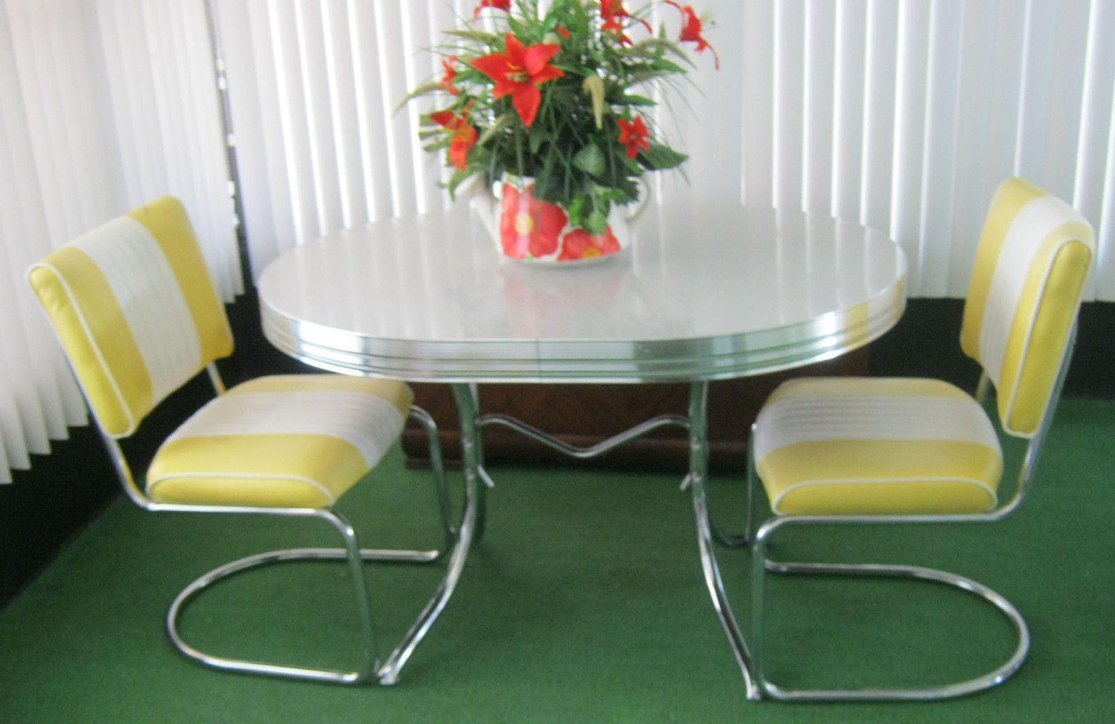Vintage Retro 1950 S Chrome Gray Yellow Dining Kitchen Table Leaf 2 Chairs Retro Kitchen Tables Vintage Kitchen Accessories Dining Table In Kitchen