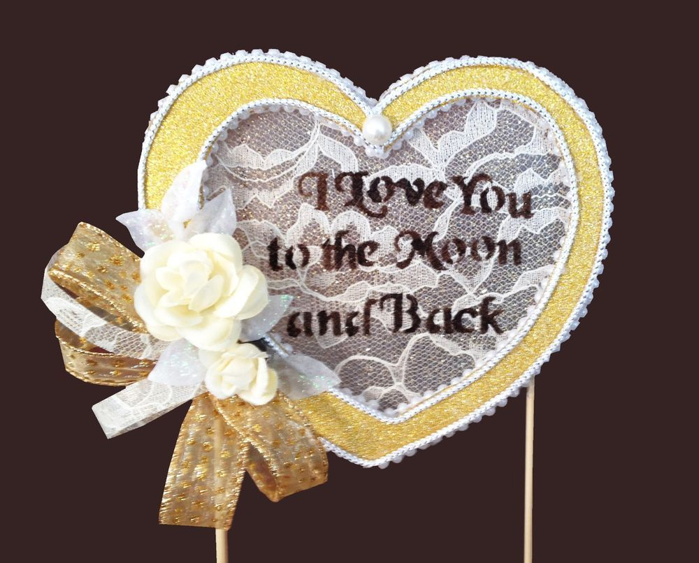 Wedding Cake Topper,I Love You To The Moon And Back,handmade,lace,ivory,roses #AllTheBestCardBoxes
