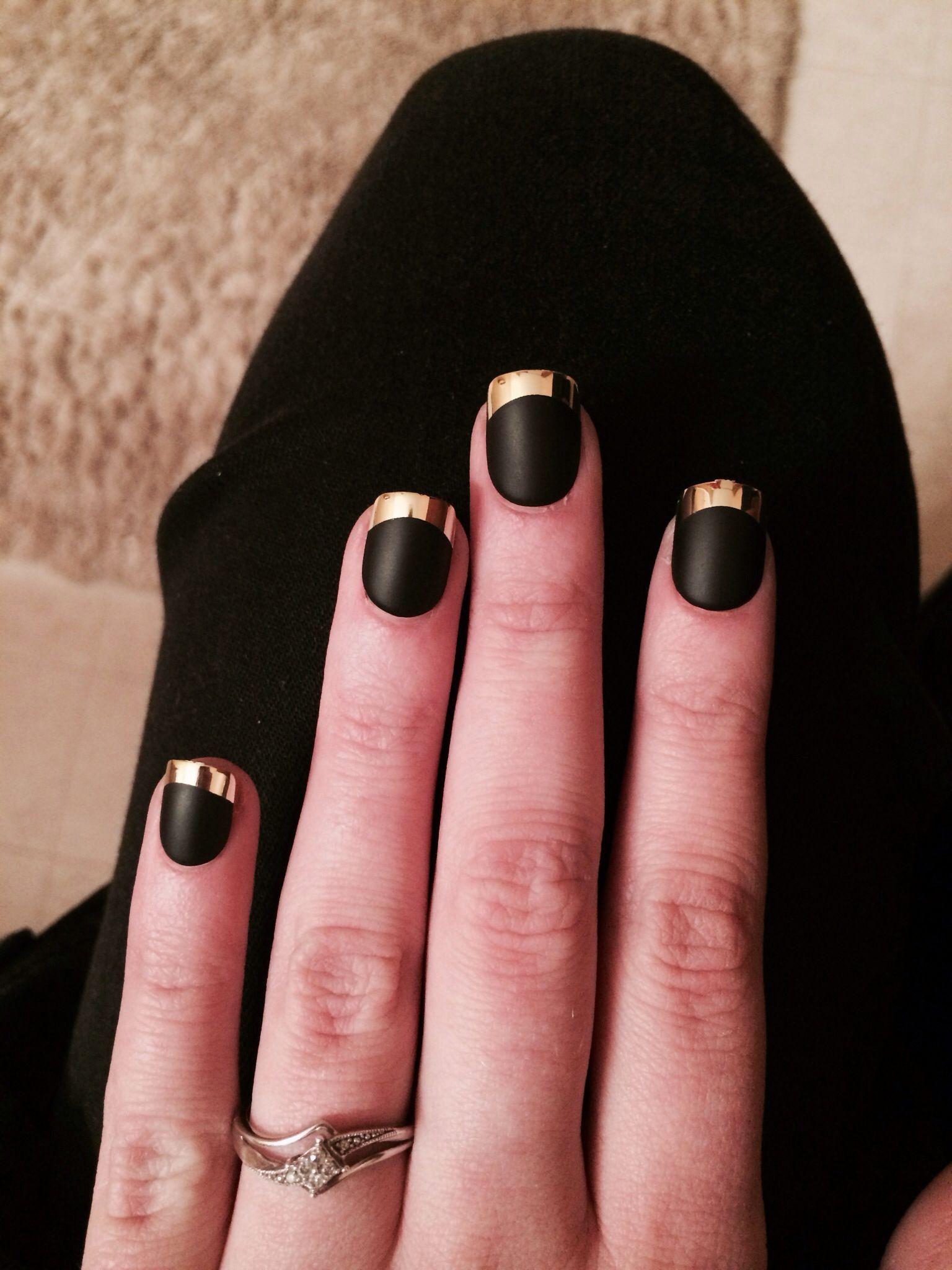 Matte black with gold tips.   Gold tip nails, Matte black nails ...