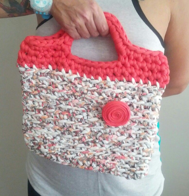 Bolso de trapillo trapillo pinterest crocheted bags for Bolso crochet trapillo