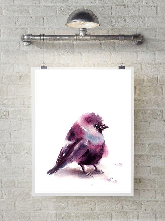 Purple birdie art print watercolor painting of by CanotStopPrints