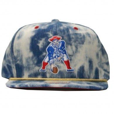 Mitchell   Ness NEW ENGLAND PATRIOTS NFL Throwbacks Blue Acid Wash Denim  Snapback 550ac201f929