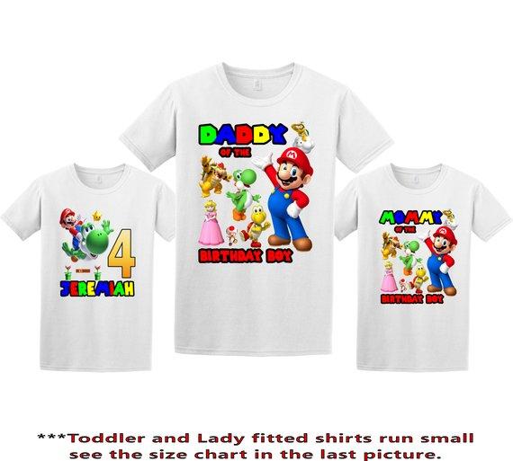 0ad5b85693b Super Mario Birthday Shirt, Super Mario Custom tShirt, Personalized Mario  Shirt, Mario family