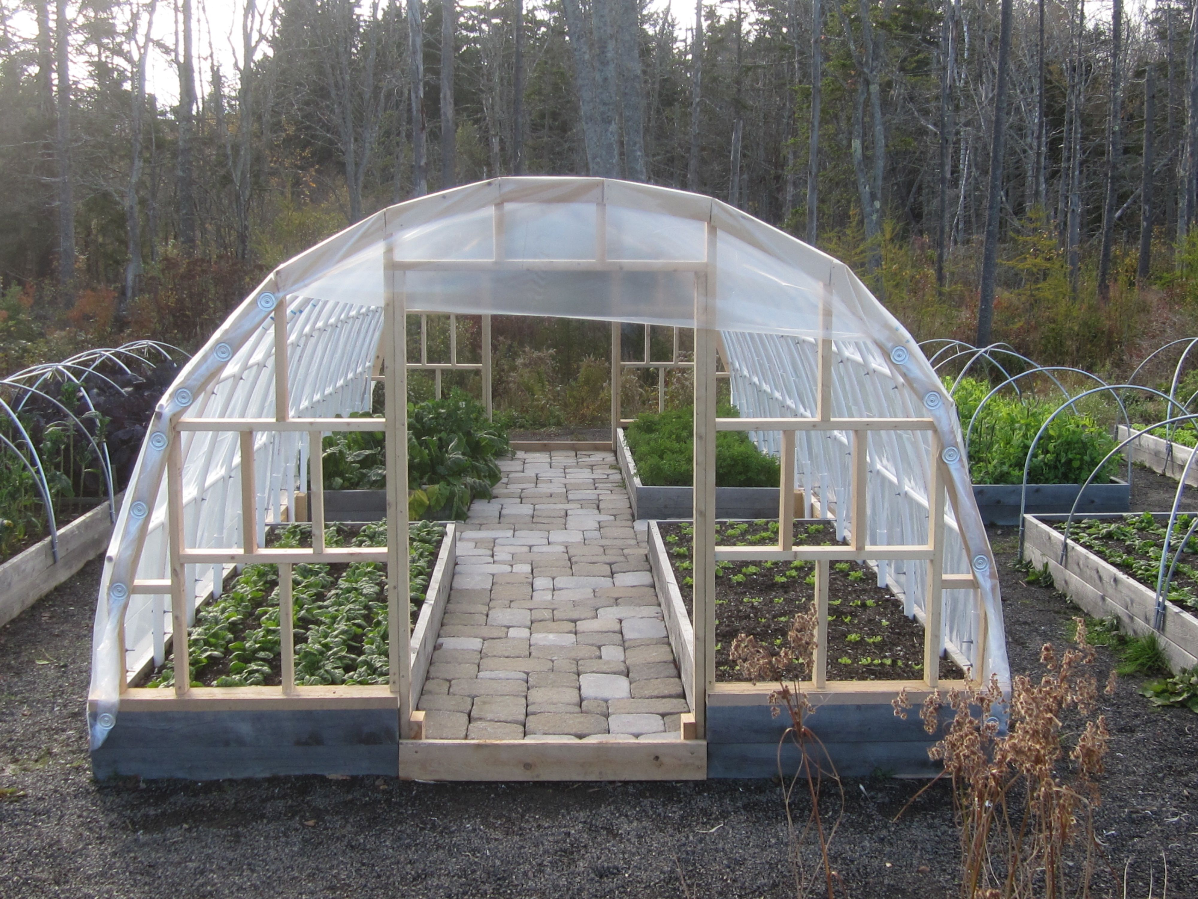 raised bed hoop house for fall and winter gardening