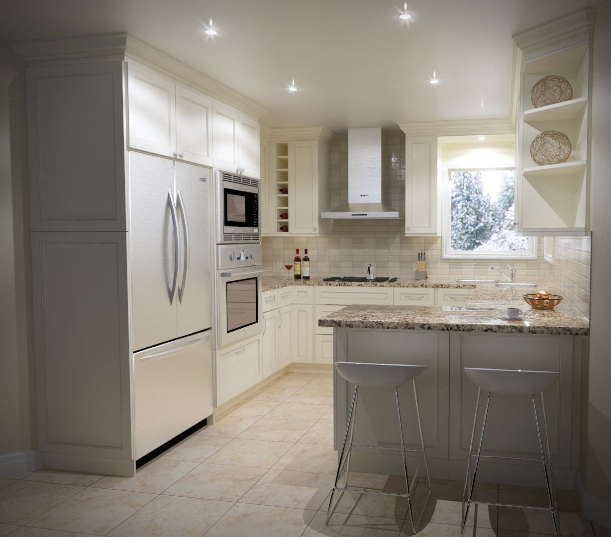 Kitchen Design U Shape Small Size With One Peninsula Design By