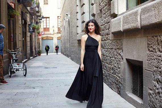 Vestido Negro Largo Vestido Infinity por CoshopCollection en Etsy