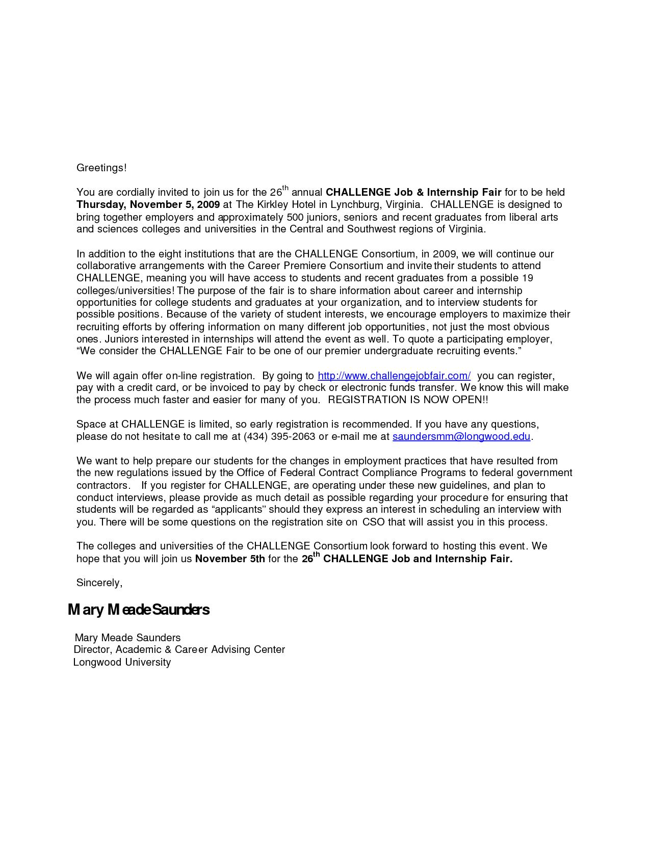Sample Job Fair Invitation Letter