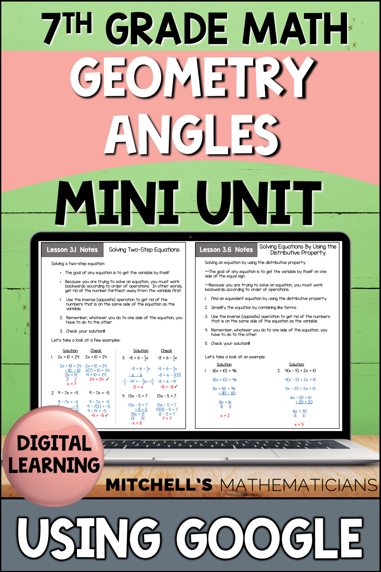 7th Grade Distance Learning Angles Geometry Mini Unit