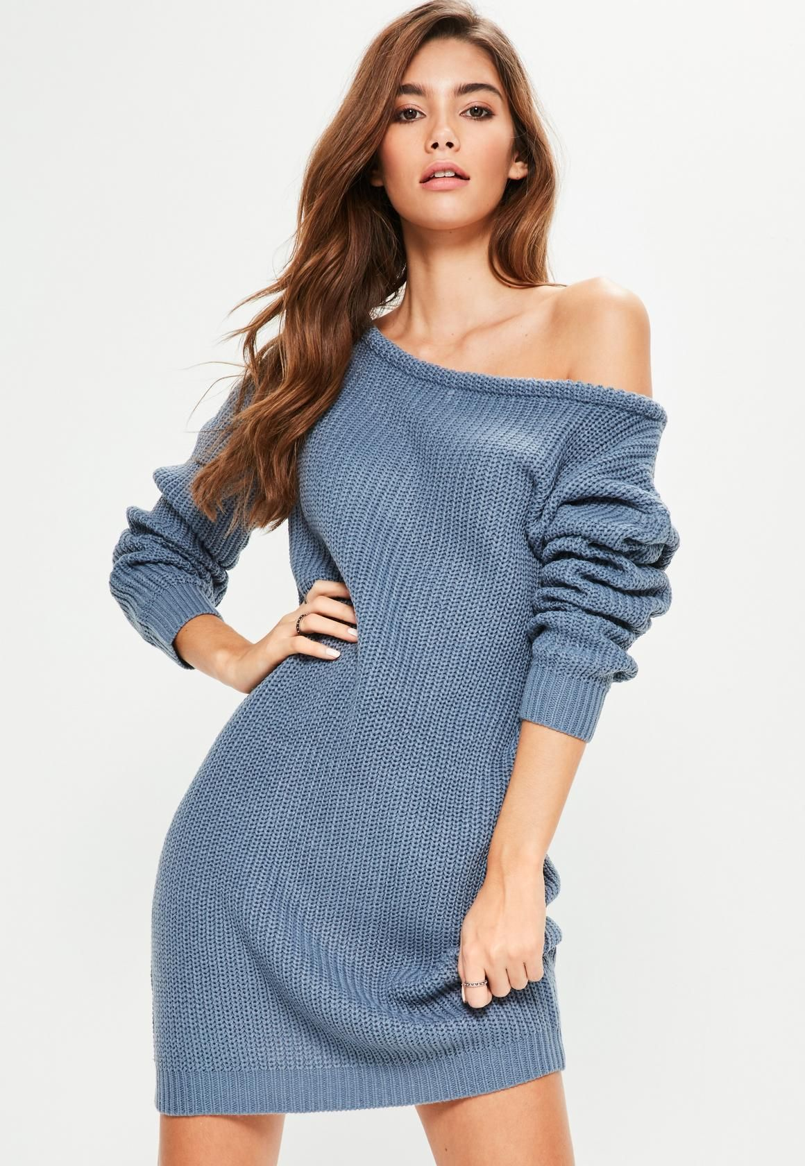 Blue Off Shoulder Knitted Sweater Dress | Missguided, Jumper dress ...