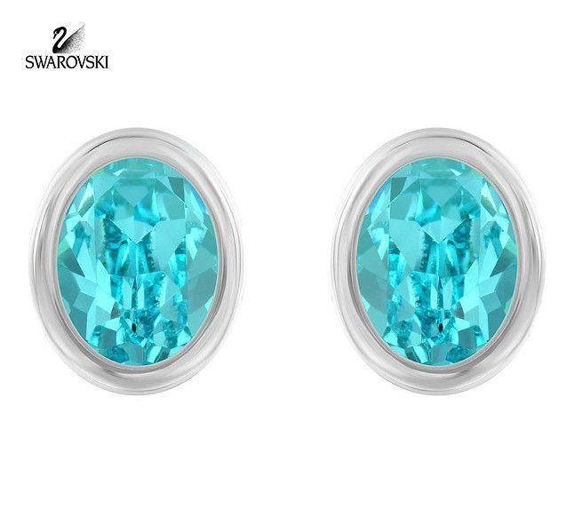 Swarovski Lt Turquoise Crystal Pierced Studs Earrings LASER Rhodium #5101257