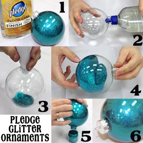 So-Easy 6 Step Pledge Glitter Ornaments