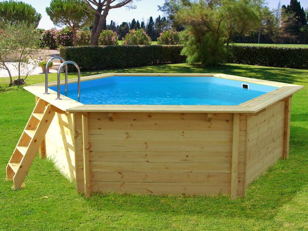 jardin piscine bois hawai hexagonale
