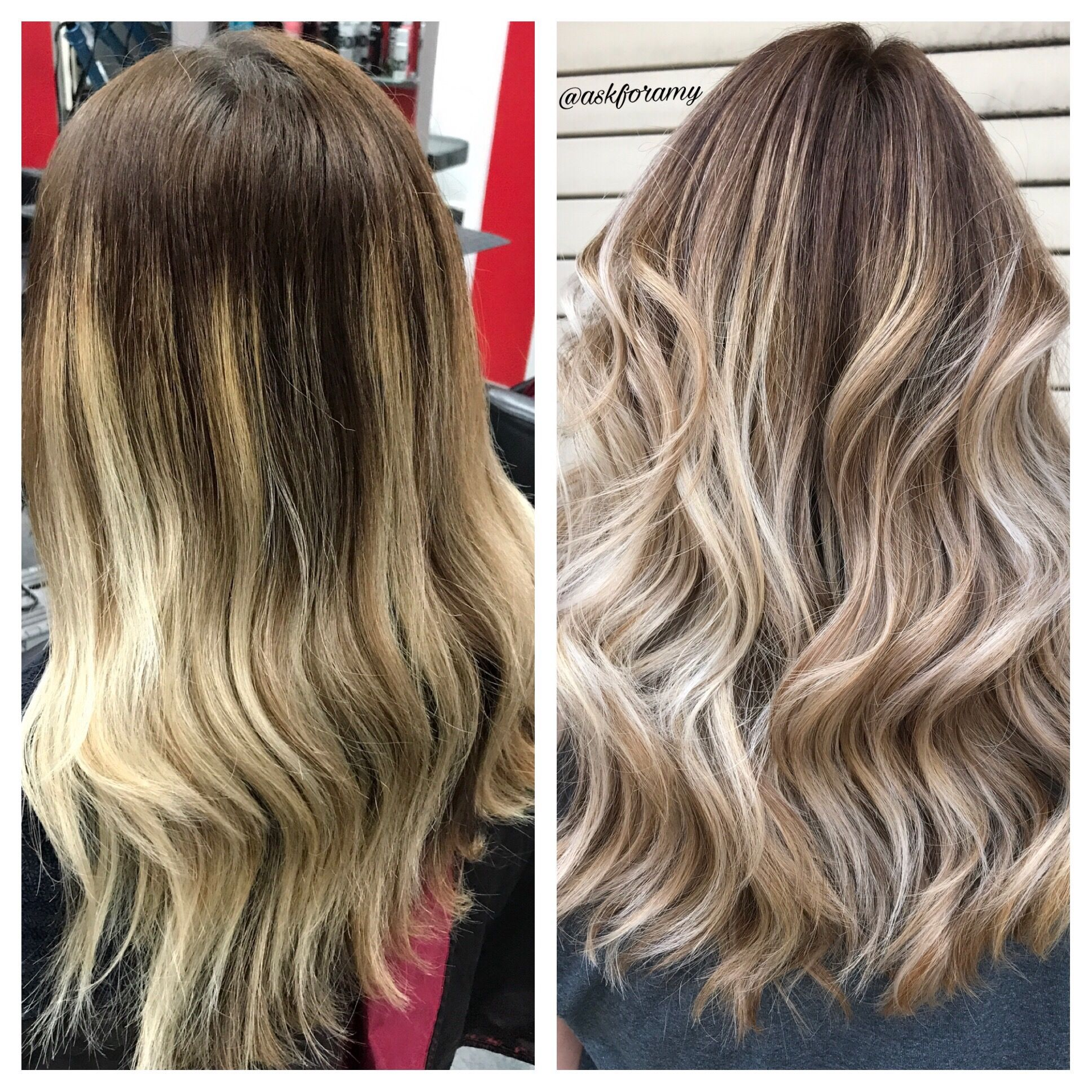 Before After Ash Blonde Balayage Ombre Transformation By