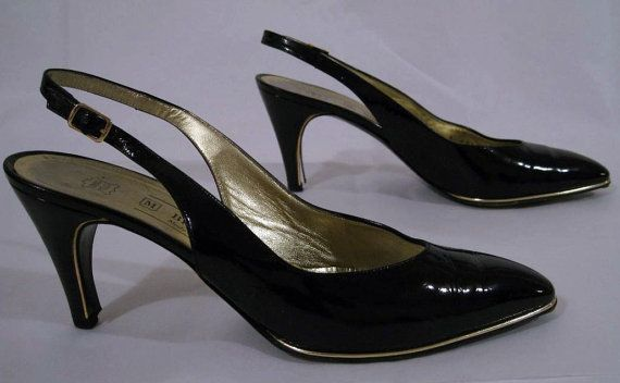 Size 85 AA Vintage Bruno Magli Black Patent by ExpertImageVintage, $25.00