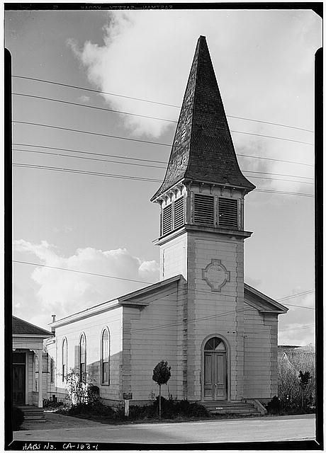 1.  SOUTH SIDE AND EAST FRONT - Congregational Church, San Gregorio Street, Pescadero, San Mateo County, CA