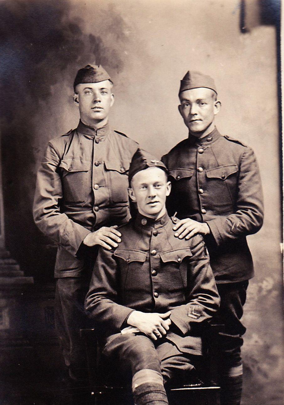 Dad and his buddies (standing).Circa 1917 Hero, Military
