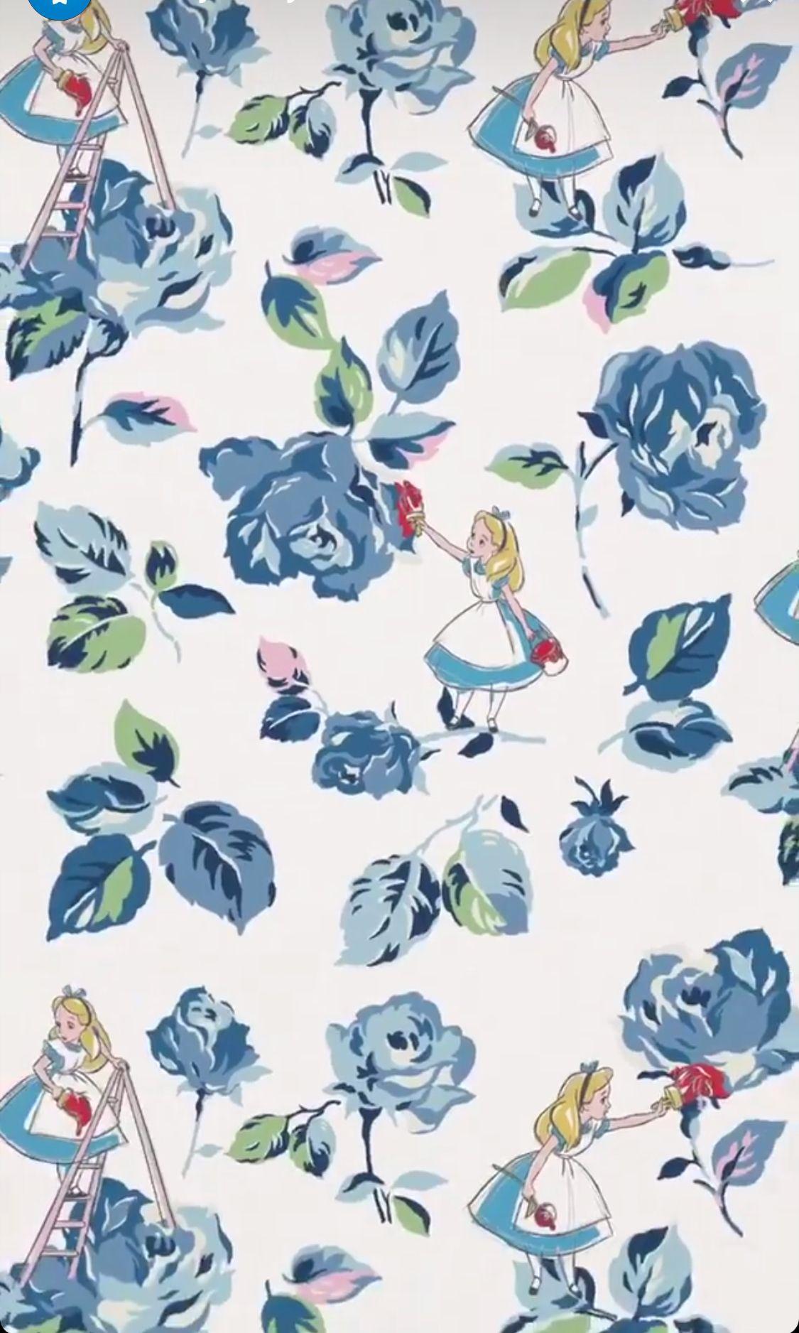 Alice Pattern Disney Princess Wallpaper Alice In Wonderland Background Disney Wallpaper