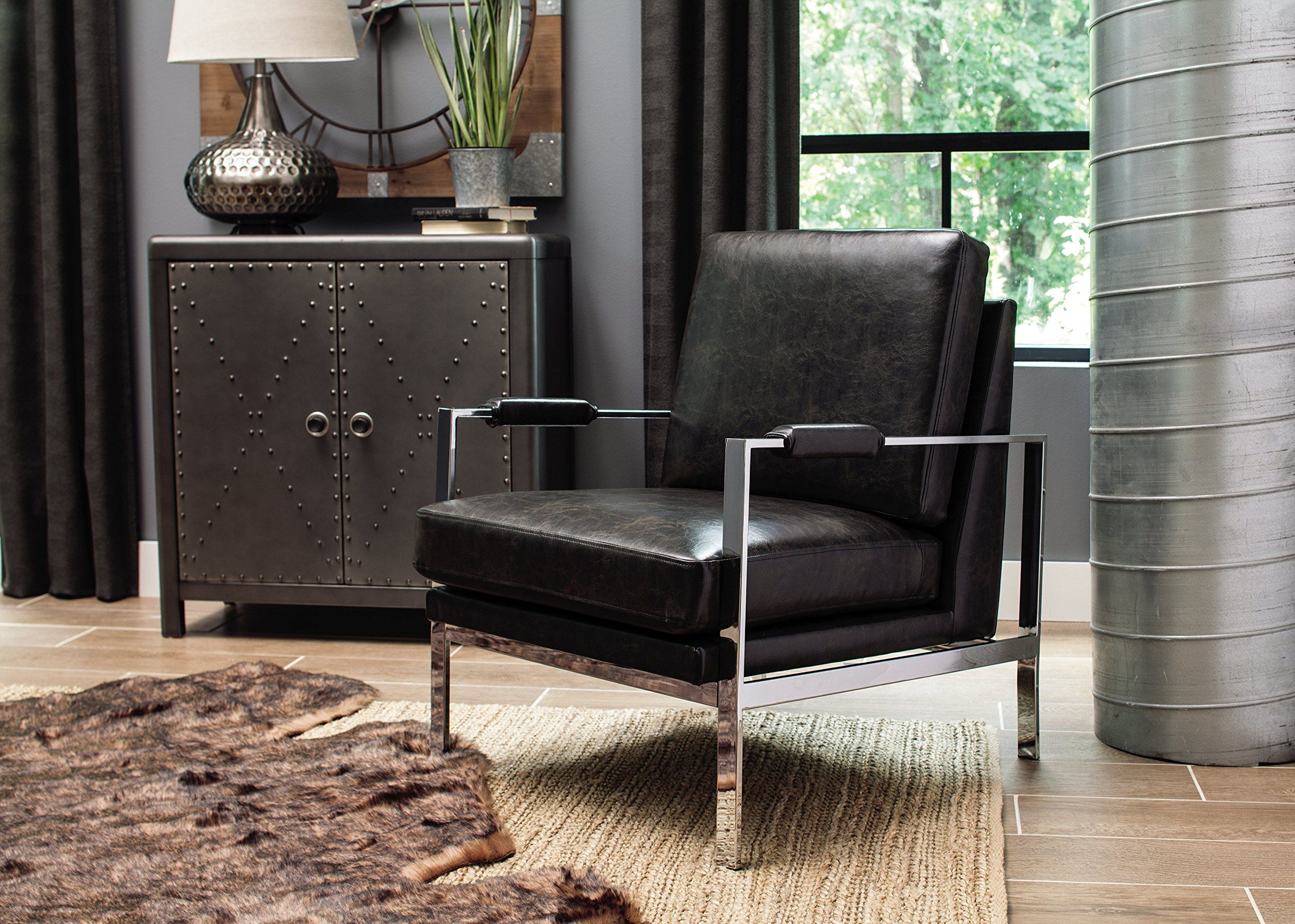 Ashley Furniture Signature Design Network Accent Chair Mid Century Modern Black Silver Legs See This Gre With Images Black Accent Chair Chic Accent Chairs Furniture