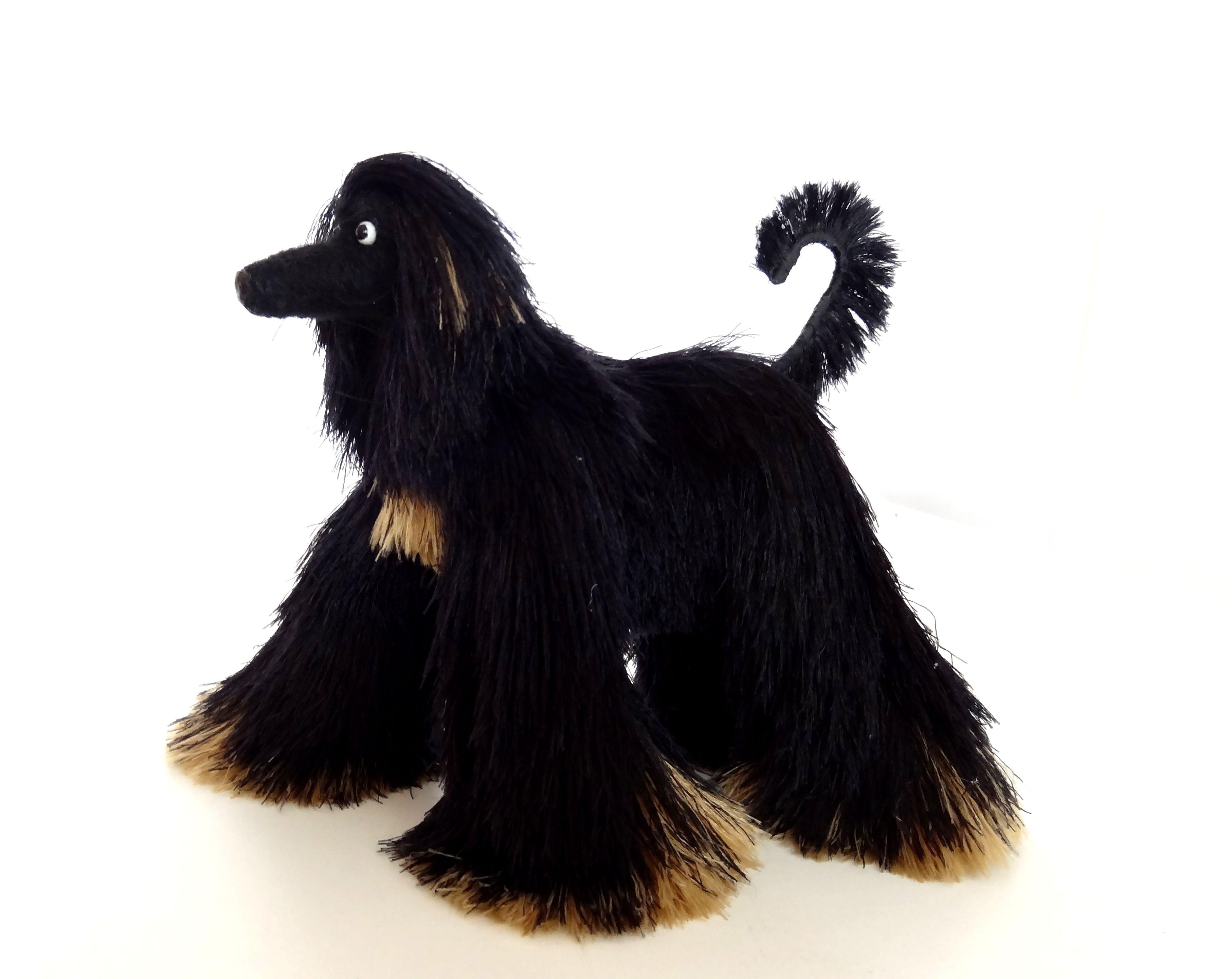 Miniature Toys Black Afghan Hound Cute Dog Figurine Stuffed