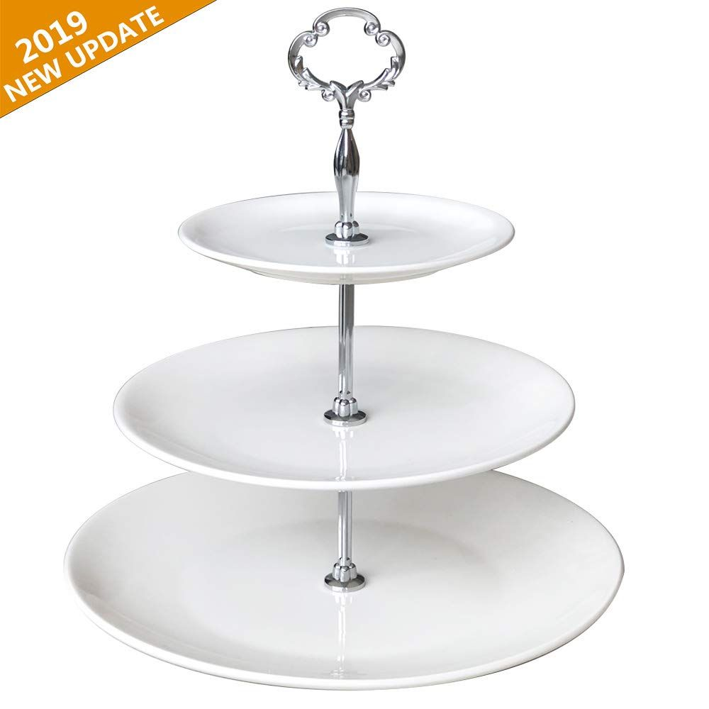 Amazon Com 3 Tier Serving Tray Stand Cupcake Cake Dessert Pastry Stand White Ceramic Round Platter For Tea Baby Shower Buffet Pastry Stand Serving Trays Stand