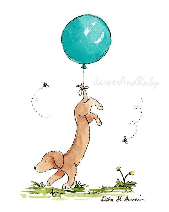 Dachshund Art Turquoise Balloon 5x7 8x10 11x14 13x19 Print Nursery Art Wiener Dog Puppy Dog Nursery decor children's art kids wall art #framesandborders