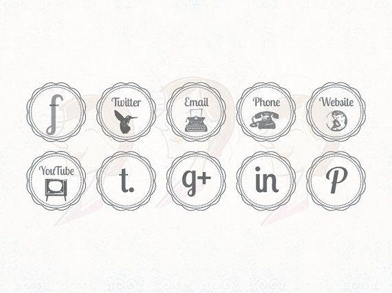 Vintage Social Media Business Icons Facebook By Maypldigitalart 6 20 Social Media Business Business Icon Blog Logo