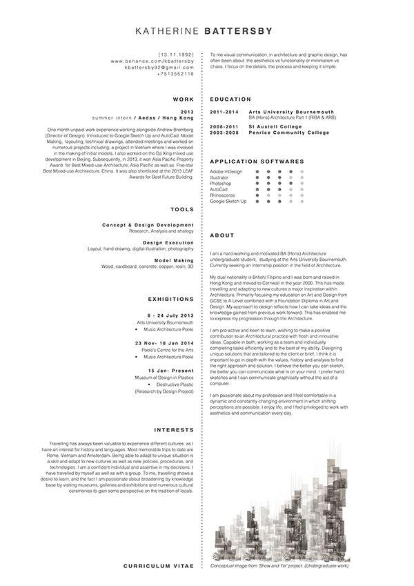 Architecture Cv On Behance Architecte Interieur Architecture Architecte