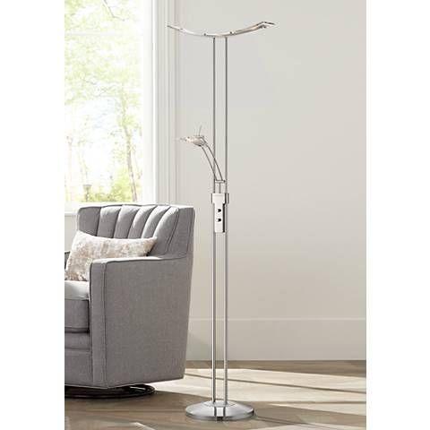 Possini Euro Design Vicina Chrome Led Torchiere Floor Lamp 4g433 Lamps Plus Torchiere Floor Lamp Cheap Floor Lamps Contemporary Floor Lamps