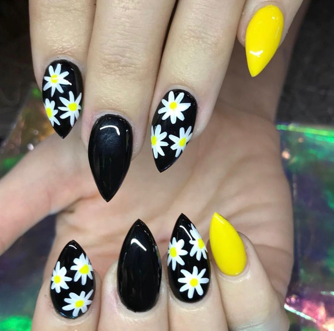 Hippie Nails Image By Crystal On Nail Fun Sunflower Nails Manicure