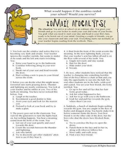 Printable Fun Quizzes Would You Survive Fun Quiz Page 1 For